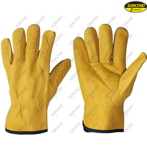 Safety equipment working sheepskin leather truck driver gloves