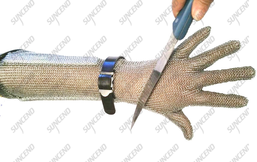 Stainless steel wire mesh cut resistant safety gloves