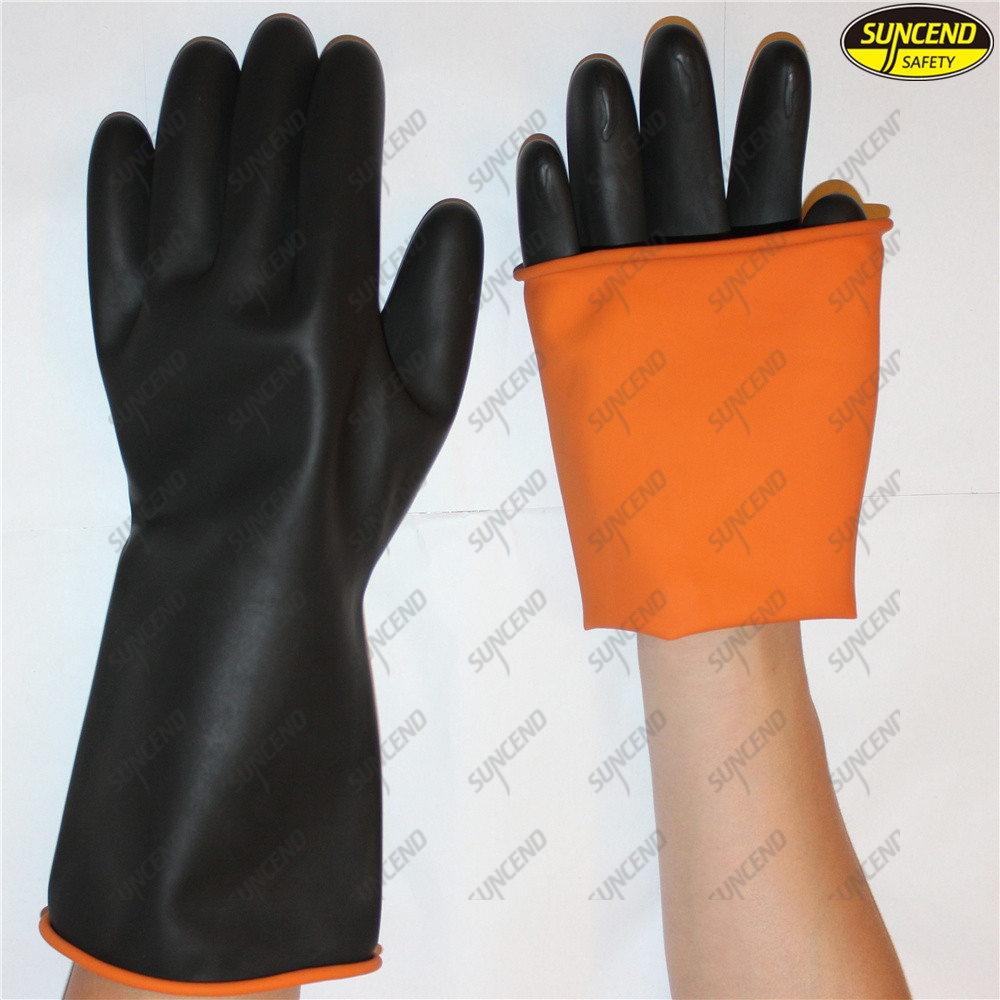 Black latex rubber chemical resistant industrial gloves with orange liner