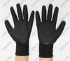 Purple 15g nylon+spandex knitted garden gloves with black latex coating on the p