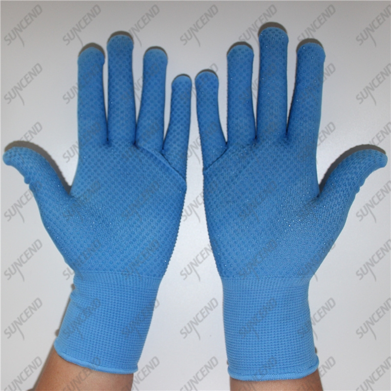13 gauge blue nylon knitted single palm PVC dots garden gloves