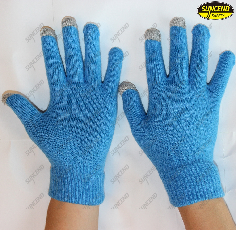 Touch screen Cotton knitted white hand safety industrial glove