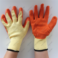 polyester crinkle palm latex construction working winter gloves