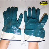 Blue nitrile coaed safety cuff work gloves