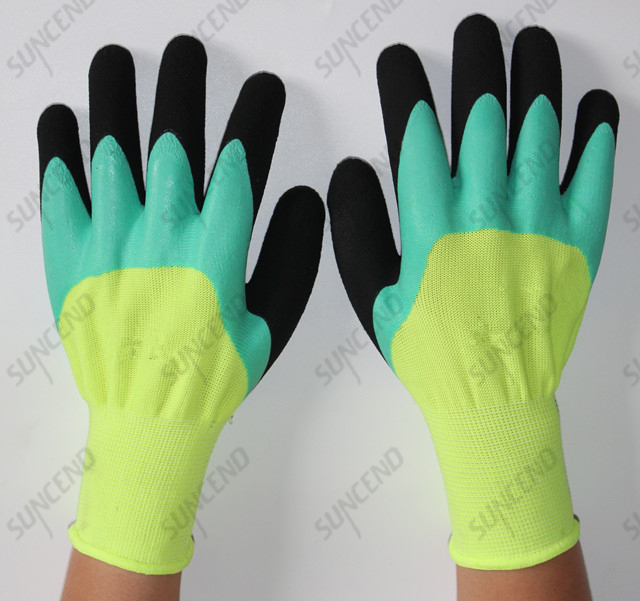 Yellow Polyester Shell with 3/4 Green Flat Latex And The Second Coating with Foam Latex Work Glove