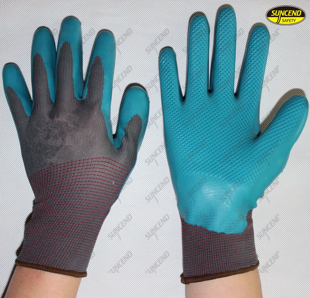 10G polycotton latex coated industrial gardening gloves