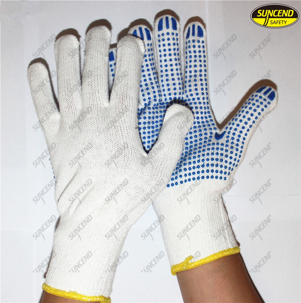 Protective equipment pvc dotted cotton safety hand gloves