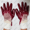 New special coating style jersey cotton liner smooth red PVC gloves