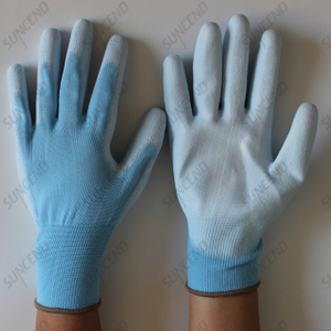 White PU Coated Polyester/nylon Liner Gloves