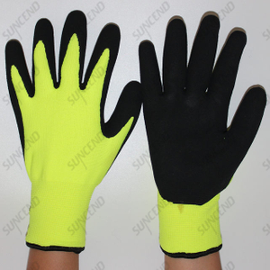 Acrylic Terry Liner Latex Palm Coated Sandy Finish Work Gloves