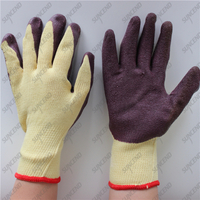 Industrial 10G yellow polycotton anti slip grip crinkle latex work gloves