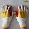 Red rubber palm coated gloves with yellow joint
