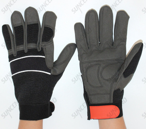 Suncend Customized Synthetic Leather Palm Coed High Abrasion Resistant Work Glove