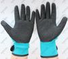 13g polyester black crinkle latex gloves with wrist strap
