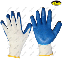 Natural latex palm coated smooth finish safety industrial work gloves