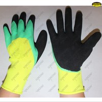 Polyester liner 3/4 coated foam finish work gloves