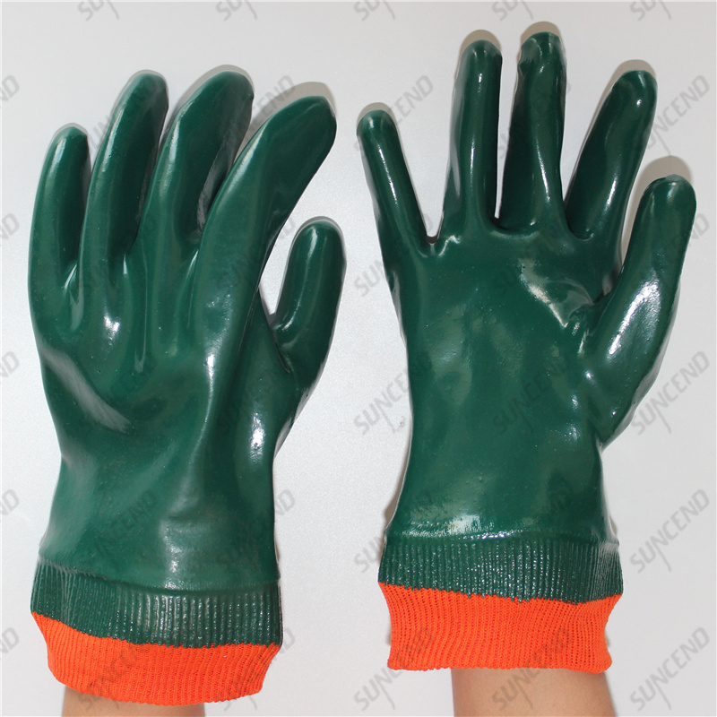 Knit wrist interlock cotton liner full double coat smooth green PVC gloves