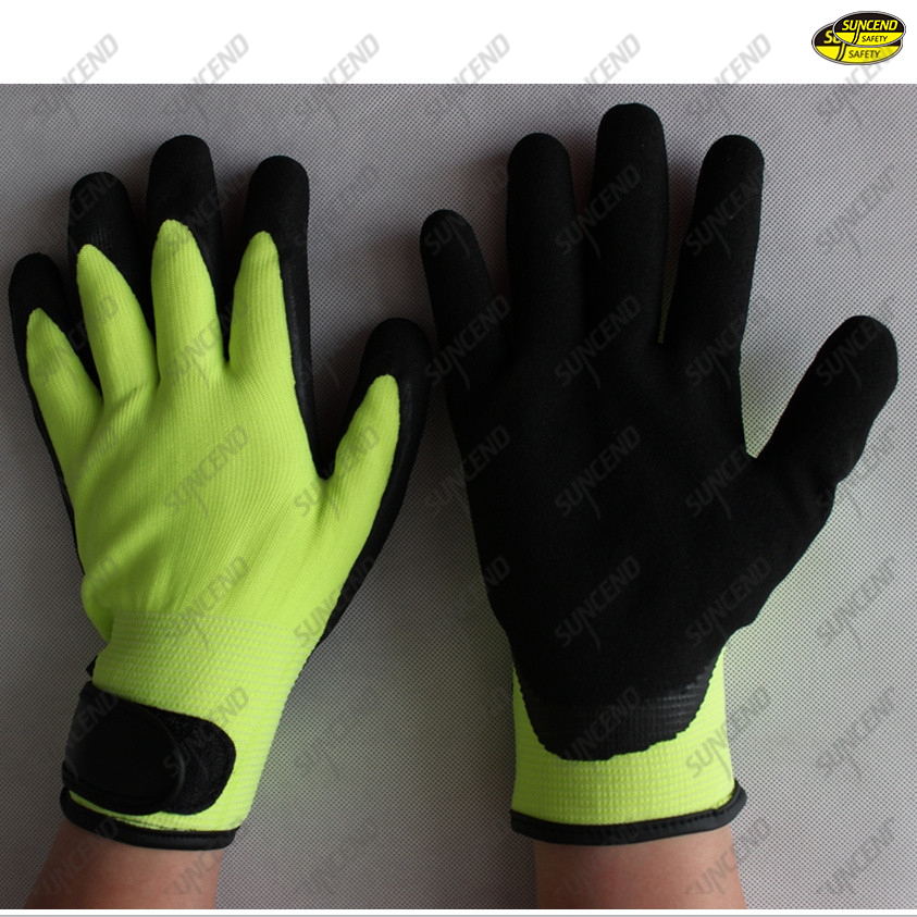Black sandy nitrile acrylick terry liner winter gloves