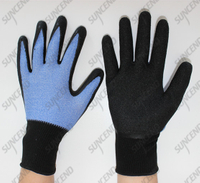 Flexible and breathable 15g nylon+spandex daily duty work gloves with crinkle la
