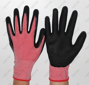 Red High Elastic Flexible Lining Work Gloves with Foam Finish for Breathable/comfirtable/soft