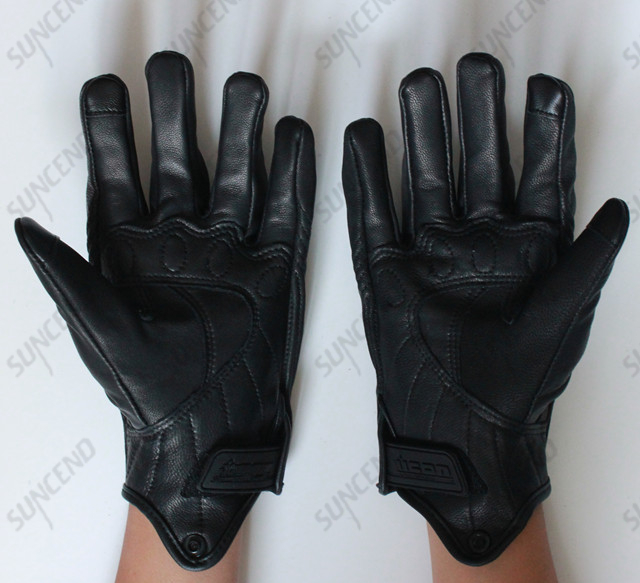 EVA Palm Pad Motorbike Gloves Genuine Leather Full Finger Black Large Gloves