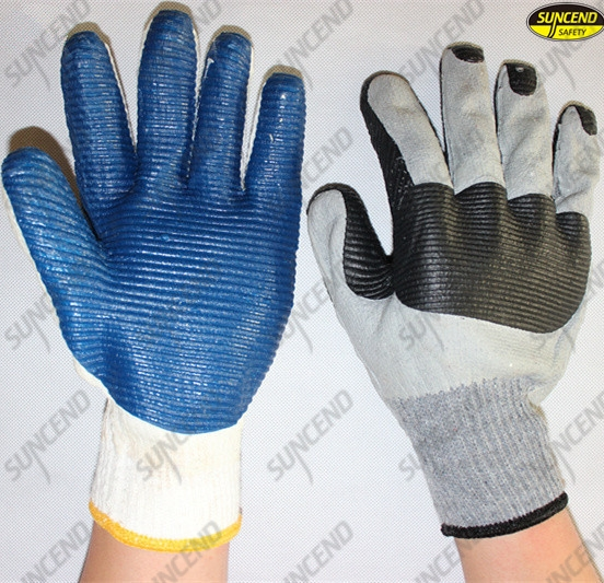 Mechanical palm rubber coated polycotton glove