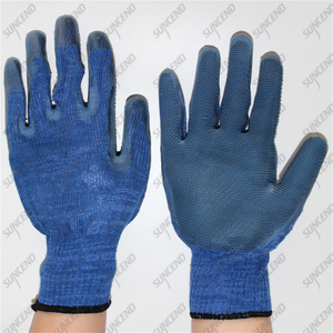 10 gauge polycotton blue special tooth rubber working safety building gloves