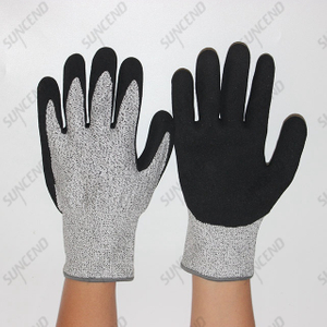 HPPE Liner Nitrile Sandy Palm Cut Resistant Gloves