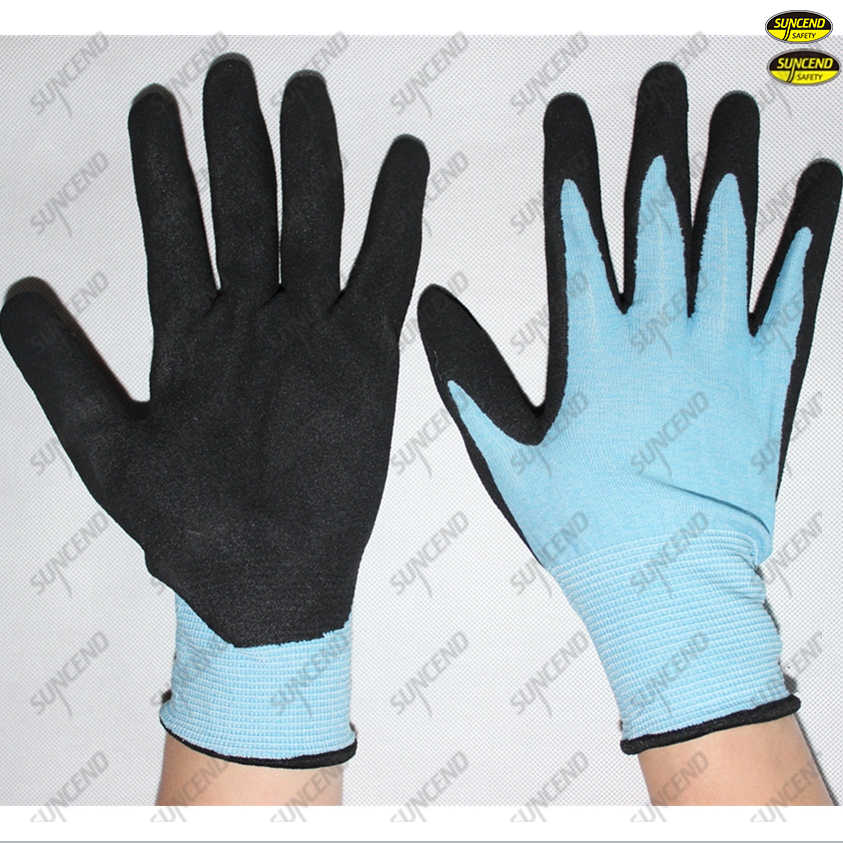 New sandy nitrile coating industrial worker gloves