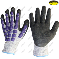 HPPE liner crinkle rubberanti vibration forestry gloves