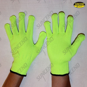Fluorescent green polycotton knitted gloves