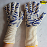 Aramid fiber heat resistant knitted cut resistant gloves