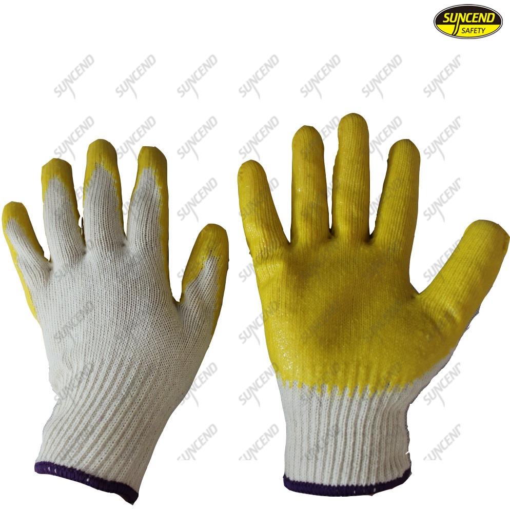 Yarn knitting smooth latex dipped smooth finish working gloves