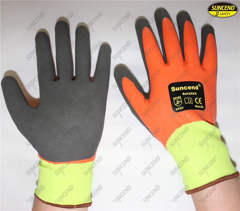 New double nitrile coated sandy finished work gloves