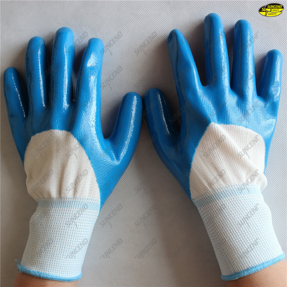 Machinist working use smooth nitrile safety waterproof gloves