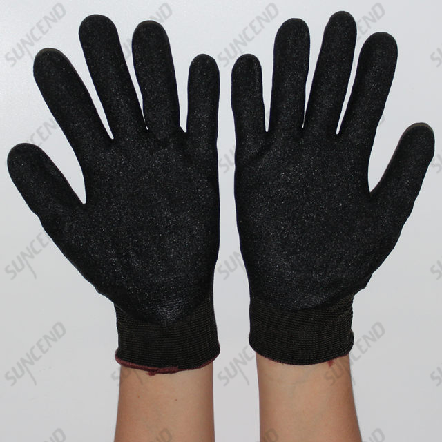15G Nylon Liner Sandy Nitrile Coated Comfortable Work Gloves