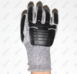 HPPE Cut Resistant Liner Work Gloves with TPR on Back