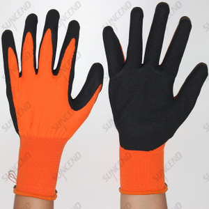 Customized Nitrile Coated Sandy Finish Labor Protective Work Gloves