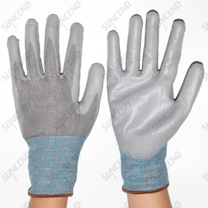 HPPE Liner PU Palm Coated Work Gloves Cut Resistant Level 5 F Rating