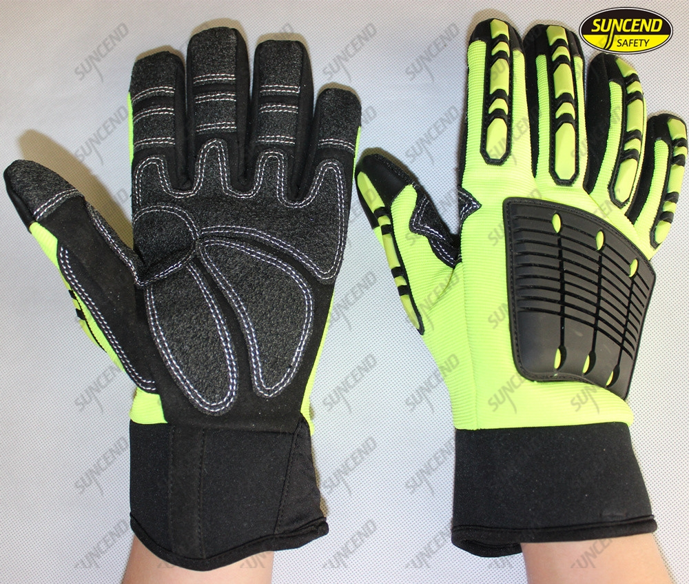 Oilfield anti vibration impact mechanics working gloves