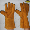 Jersey liner cow split leather safety hand protective gloves