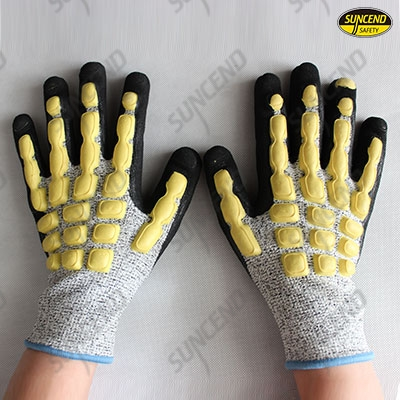 Sandy nitrile palm coated HPPE liner anti-impact and anti-cut gloves