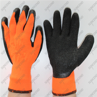 Industrial 10 Gauge Polycotton Grey Crinkle Latex Coated Safety Gloves