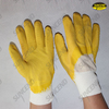 Jersey lined yellow latex 3/4 coated work gloves with crinkle finish
