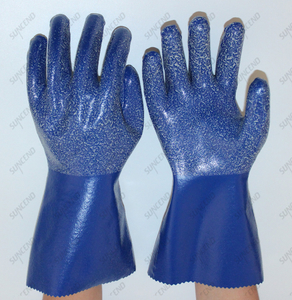 Blue Nitrile Fully Dipped Rough Finish Anti Slip Anti Chemical Safety Gloves with 100% Cotton Liner
