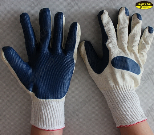 Good grip grain rubber coated polycotton liner gloves