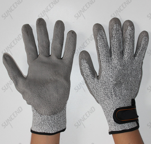 Cut protection glove with PU Palm coated velcro cuff