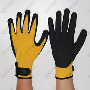 Terry Liner Nitreile Sandy Coated Winter Gloves with Velcro Wrist