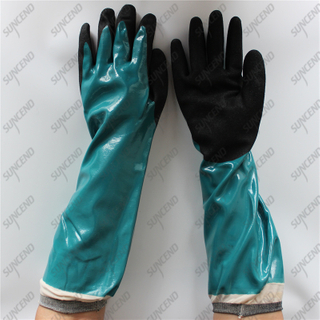 Nylon liner safety long cuff smooth sandy blue black nitrile coated gloves