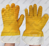 Jersey cotton cuff anti slip big crinkle latex gristle gloves
